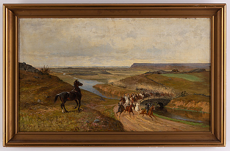 Olof hermelin & johan georg arsenius, oil on canvas, signed and dated 1886.