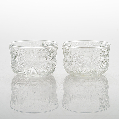 "Oiva toikka, a set of 29 ""fauna"" glassware parts from nuutajärvi finland."
