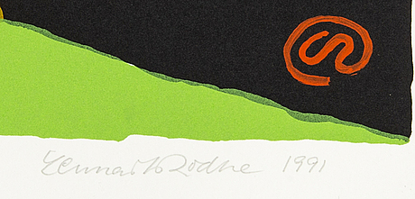 Lennart rodhe, lithograph in colours signed dated and numbered 1991 28/50.