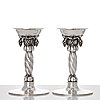 Georg jensen, a pair of sterling silver grape decorated candlesticks, copenhagen 1996, design nr 263b.