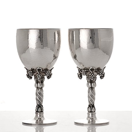 Georg jensen, a pair of sterling silver wine glasses, copenhagen 1988 & 1996, design nr 263.