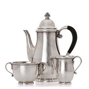 154. Georg Jensen, a three pieces sterling silver coffee service, Copenhagen, 1925-44, design nr 32A + C.