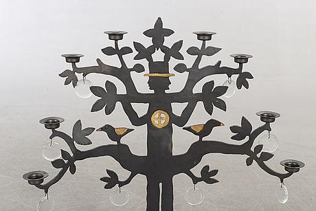 Bertil vallien, a floor candelabra of iron and glass.