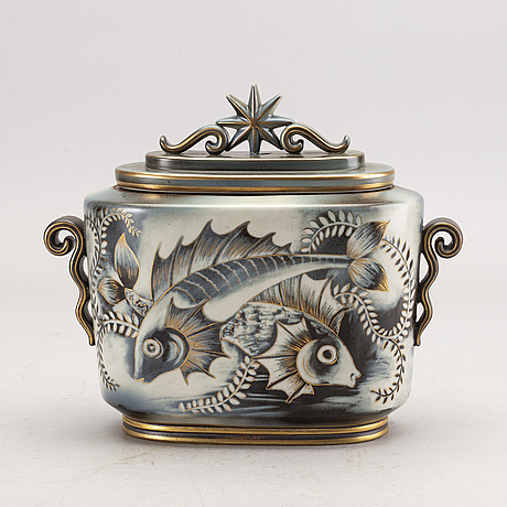 "Gunnar nylund, a stonewear ""flambé"" urn with lid, rörstrand."