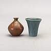 Gunnar nylund, 4 stonewear vases from rörstrand.