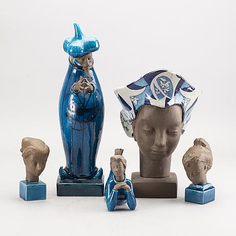 Johannes hedegaard, 5 stonewear figurines from royal copenhagen.