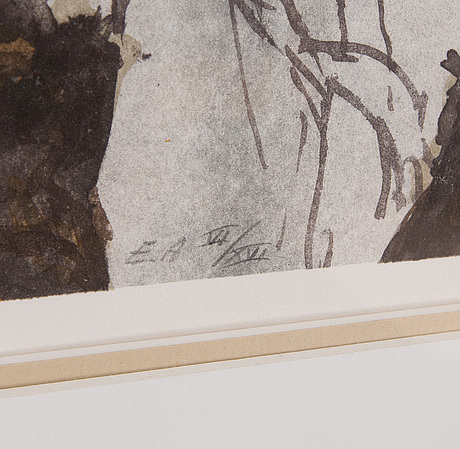 Jonas nilsson, lithograph in colours, 1992, signed ea vi/xvi.