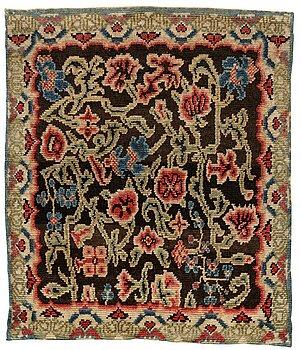 230. Brudtäcke, rya, ca 189-190,5 x 160-164 cm, Hälsingland 1750-tal, rokoko.