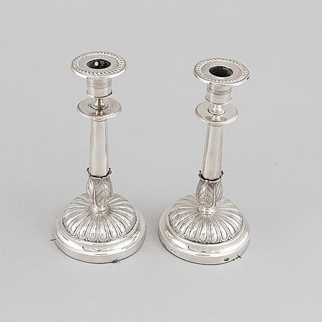 Gustaf möllenborg, a pair of silver empire candlesticks, stockholm 1829.