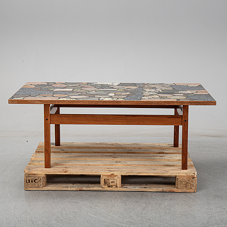 Erling viksjø, a rosewood and stone coffee table by conglo design, norway, 1960's-80's.