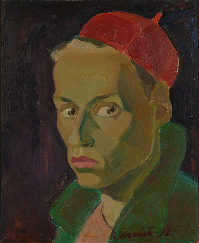 Kullervo koivisto, oil on panel, signed and dated -42.