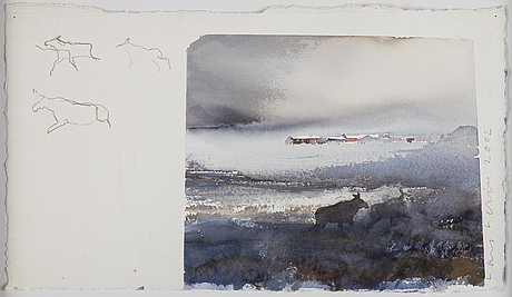 Lars lerin, watercolour, signed and dated 2002.