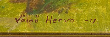 Väinö hervo, olja på duk, signerad och daterad -59.