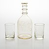 Carafe and two drinkin glasses for the finnish state railways 1920-1960.