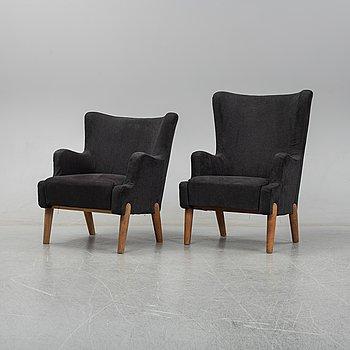 Eva och Nils Koppel, a set of two easy chairs, for Slagelse Møbelværk, Denmark circa 1948-50.