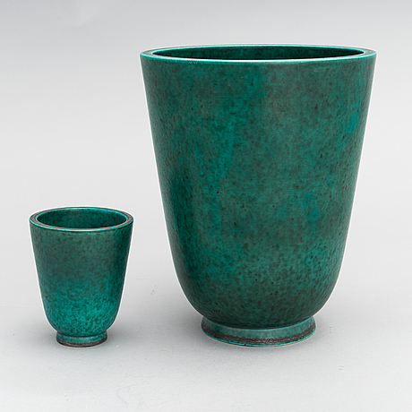 Wilhelm kåge, two 'argenta' vases, stoneware, gustavsberg, sweden.
