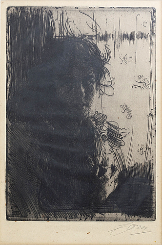 Anders zorn, a signed etching from 1894.