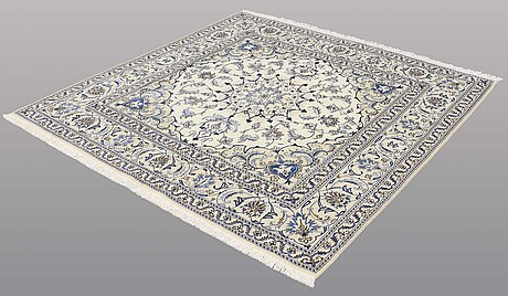 A rug, nain part silk, ca 197 x 197 cm.