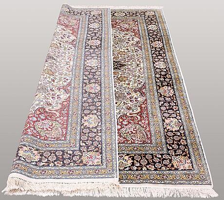 A carpet, silk kashmir 280 x 180 cm.