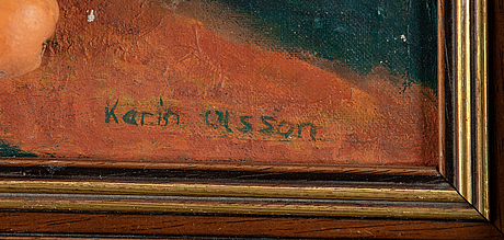 Karin olsson, oil/collage on canvas, signed.