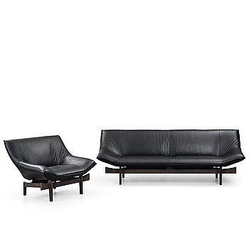 "16. Takashi Okamura & Erik Marquardsen, a ""model 84"" sofa and easy chair, Nelo / Roche Bobois, post 1984."