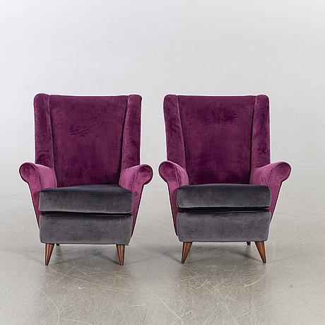A pair of easy chairs by isa italy 1960's.
