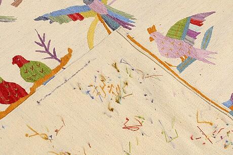 A carpet, embroided flat weave, ca 183 x 164 cm.