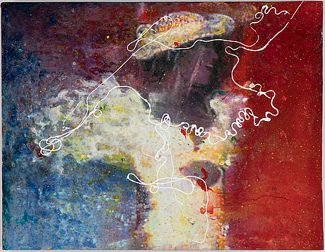 Max mikael book, oil/mixed media on panel, signed and dated 2006 verso.