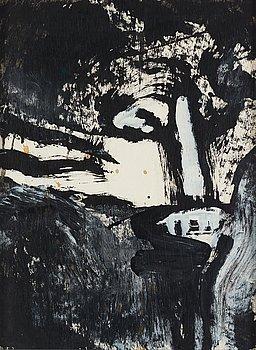 Bengt Lindström, mixed media on paper, 1980s, certified by Curt Aspelin verso.