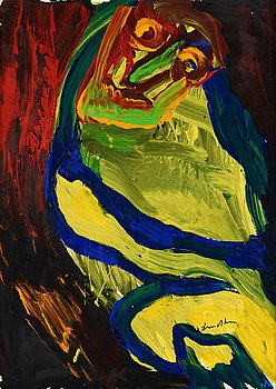 Bengt Lindström, acrylic on paper mounted to canvas, 1980s, signed.