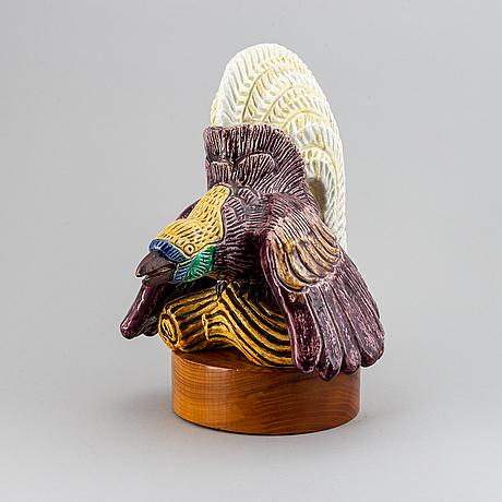 Gunnar nylund, a 'pradisfågel' stoneware sculpture, rörstrand.