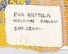 A tapestry marked eva anttila helsinki finland.