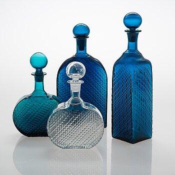 Nanny Still, four 'Flindari', bottles for Riihimäen Lasi O.Y.