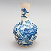 A ge-glazed blue and white chinese porcelain vase from late qing dynasty, around 1900.