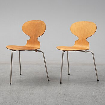 ARNE JACOBSEN, a pair of  'Ant' chairs from Fritz Hansen, Denmark, 1950s.
