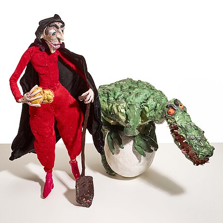 "Nathalie djurberg & hans berg, ""crocodile, egg, man"" from ""i am saving this egg for later""."