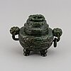 A chinese bowenite/serpentine censer with cover, first half of 20th century.