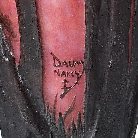 Daum, an art nouveau soufflé/ mould blown glass vase, nancy, france.