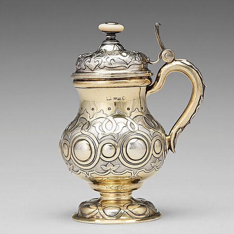 A russian 19th century parcel-gilt silver tankard, unidentified makers mark, st. petersburg 1864.