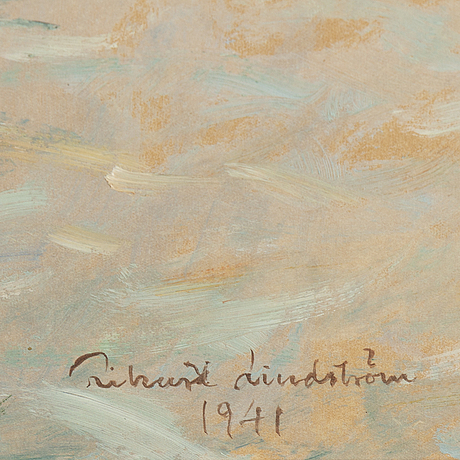 Rikard lindström, oil on paper-panel, signed and dated 1941.
