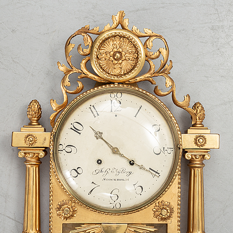 A swedish late gustavian wall clock, johan nyberg (stockholm 1787-1801).