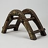 A saddle in wood and metal. presumably late qing dynasty (1644-1911).