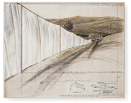 """Christo & jeanne-claude, """"running fence (project for sonoma county and marin county, state of california) - estero road""""."""