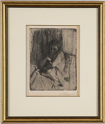 Anders zorn, etsning, 1898, signerad med blyerts.