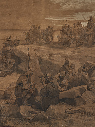August malmström and hans gude, ink and wash on brown paper with heightening white, signed hans gude and a. malmström.