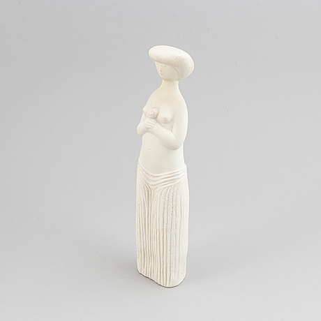 Stig lindberg, a parian figurine and a stoneware flask with cover, gustavsberg.