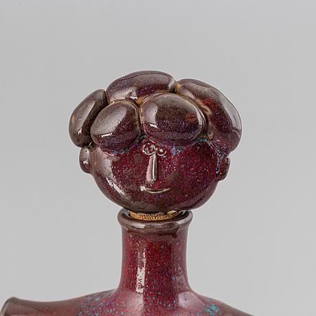 Stig lindberg, figurin samt flaska, stengods samt parian, gustavsberg.