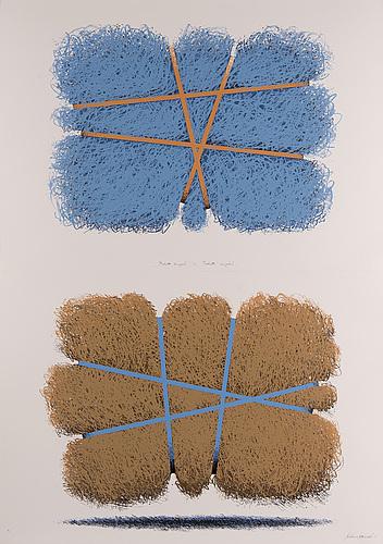 Kimmo kaivanto,  silkscreen in colours, diptych, signed 50/50.