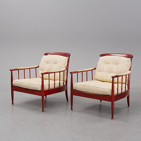 Kerstin hÖrlin-holmquist, a pair of 'skrindan' armchairs, ope.