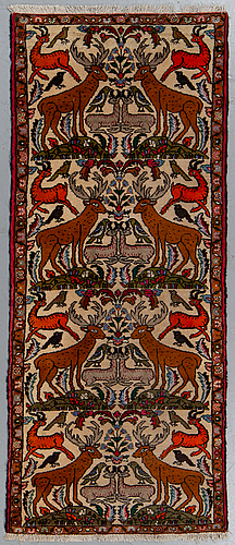 A rug, old persian figural, ca 190 x 82 cm.